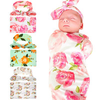 Wholesale Newborn Baby Towels - Newborn Baby Swaddling Blankets with Bunny Ear Headbands Baby Floral Swaddle Wrap Blanket Hairbands Baby Cotton wrap cloth Set BHB11