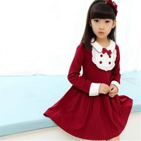 Wholesale Girls Patching Dress - Girls Dresses Spring Autumn Children Kids Girls Long Sleeve Flowery Princess Dress Cute Clothing Adorable Lovely Girls Dress Lace Patched