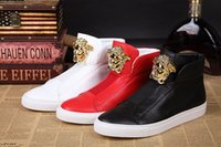 Wholesale Best Quality Denim - best quality fashion medusa man sneaker trainer shoes 2017 luxury brand man PU casual brand leather sneakers