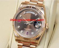 Wholesale Chocolate Wristwatch - 2017 New Stainless Steel Bracelet 41mm Chocolate Diamond & Ruby Dial Everose Gold 118235 CHODRP Automatic Mechanical MAN WATCH Wristwatch