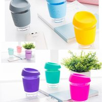 Wholesale Printed Coffee Cups - smile Glass coffee cup with silicone JOCO design smile print coffee cup Travel Cups Office Bottle 15 color KKA1802