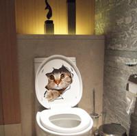calcomanías de baño al por mayor-Nuevo diseño 3D Gatos Etiqueta de la pared Pegatinas de baño Vista del agujero Vivo Baño Decoración de la habitación Animal Vinyl Decals Art Sticker Wall Poster