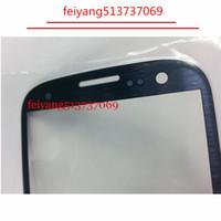 i747 lcd toptan satış-Samsung Galaxy S3 i9300 Için yedek Dış Cam i535 L710 i747 LCD Dokunmatik Ekran Ön Cam Dış Lens