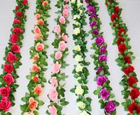 Wholesale Artificial Cake Decoration - High quality 240CM Wedding decoration artificial silk rose flower home party decorations flower vine Rattan Wedding Supplies wholeasle