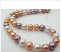 """Wholesale South Sea Pearls Singapore - 10-11mm natural south seas white pink purple pearl necklace 18"""" yellow buckle !"""