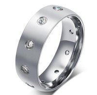 Wholesale Custom Rings China - jewelry factory wholesale custom cheap ring 8mm stainless steel finger ring with diamond for women simple gift jewelry ring