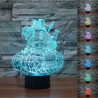 Wholesale Led Tank Lighting - 2pc Gift Model Tank Metal Slug Advance 3D Night Light Touch Button Colors Change LEDTable Lamp Gift Mix Order Custom Any LED College Light