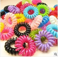 Wholesale Telephone Wire Hair Tie - 100PCS Wholesale Plastic Hair Braider Head Colorful Rope Spiral Shape Hair Ties Hair Styling Tools Telephone Wire Accessories