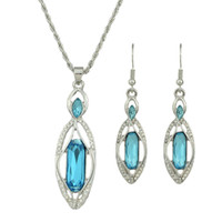 Wholesale Silver Earring Necklace Crystal Pendants - Wedding Jewelry Set Silver Color Blue Crystal Water Drop Pendant Necklace and Dangle Earrings Jewelry