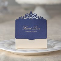 Wholesale ivory wedding box - Laser Cut Wedding Candy Favors Boxes Blue Hollowed Crown with Ivory Box and Champagne Words Novelty Unique