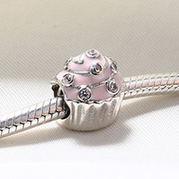 Wholesale Enamel Ice Cream Charms - Wholesale Real 925 Sterling Silver Not Plated Enamel Ice cream Cake European Charms Beads Fit Pandora Snake Chain Bracelet DIY Jewelry
