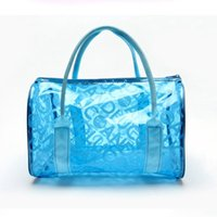 Wholesale Transparent Tote Bags Wholesale - Wholesale- Transparent Beach Bag 2016 New Fashion Women Clear Beach Handbag Letter Printed Tote Candy Jelly Bag Of Beach Bolsos de Playa