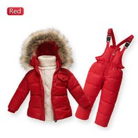 Wholesale White Coat Suit For Boys - Wholesale- Children Winter Down Jacket Boys Warm Outerwear Coats Girls Clothing Set Or Coat Kids Ski Suit Jumpsuit For Boys Baby Overalls