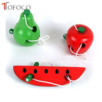 Wholesale Toy Baby Fruit - Wholesale- TOFOCO Baby Early Educational Toys Wooden Worm Eat Fruit Learning Toys for 0-7 Years Children Apple Peach Watermelon Choose