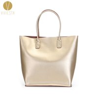 Wholesale large metallic gold handbag - Wholesale- GENUINE LEATHER METALLIC LARGE TOTE - 2016 Women's Fashion Trendy Silver Gold A4 Size Big Shopping Shoulder Bag Handbag Bolsa