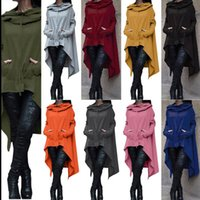 Wholesale Solid Womens Sweatshirts - Womens Pullovers Hoodies Casual Irregular Solid Hooded Sweatshirts Female Plus Size Shirts Autumn Blouses Sweatshirts KKA2725
