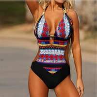 Wholesale Women S Vintage Swimsuits - Hot Sale 2017 Sexy Plunge Neck Monokini Women Swimsuit One Piece Swimwear Fashion Bodysuit Backless Vintage Bohemia Bottom Bathing Suits