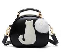 Wholesale Bag Red Cat - NEW Women Makeup Bags Crossbody Bag For Women PU Leather Cosmetic Bags Full Moon Candy Color Cute Cat With Fur Ball