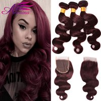 Indian Red 99j Body Wave Human Virgin Hair Weaves 99J Cor 4X4 Encerramento com 3 Bundles Body Wave Full Hair Hair Extensions