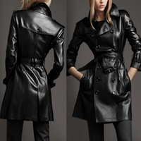 Wholesale Double Breasted Pu Leather Jacket - 2017 women black jacket in the spring and autumn season Plus size double-breasted long PU leather jacket size S - 4 xl