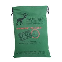 Wholesale Wholesale Dec - christmas large canvas environmental material santa claus drawstring bag with reindeers christmas gifts sack bags mixed color christmas dec