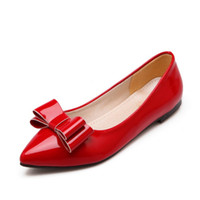 Wholesale Patent Leather Shoe Paint - Network bursts bowknot paint leather pointed feet foot shoes anti-skid rubber bottom with flat with the size of women's shoes
