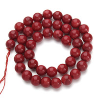 1Strand / lot Round Red Coral Beads Natural Stone Moda jóias Beads para jóias fazendo Diy Bracelet Necklace Loose Beads