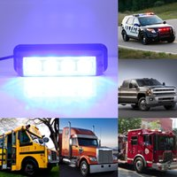 Wholesale Hazard Emergency Warning - 4LED 4 W Blue Flash Strobe Emergency Warning Hazard Warning Round Light Truck Vehicle Car Roof Top
