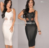 Wholesale Tight Transparent Dressed Women - Wholesale-2015 Hot Sale Women Summer White Black Slim Cute Dress Sexy Tight Party Deep V neck Dresses Women Transparent Mesh Lace Clothing
