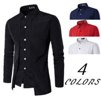 Wholesale Double Breasted Red - Hot Fashion T Shirts with Double-breasted Slim Fit Shirt Long Sleeve Casual Mens Shirt ZL3292