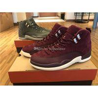 Wholesale Newest Carbon - Newest Air Retro 12 Bordeaux Men Basketball Shoes Sneakers Men 12s Sneakers Real Carbon Fiber Gren Purple 130690-617 Shoes Size US7-US13