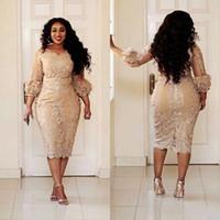 16w plus größe abendkleid großhandel-African Champagne Mutter der Kleider Juwel Hals Applique Illusion 3/4 Ärmel Langarm Abendkleider Plus Size Mermaid Prom Dress
