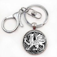 Wholesale Painted Keys - Celtic Dragon Keychain Cabochon Glass Keyring Oil Painting Gift Dragon Jewellery Dragon Key Chain Ring
