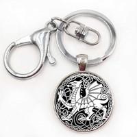 Wholesale Dragon Boys Rings - Celtic Dragon Keychain Cabochon Glass Keyring Oil Painting Gift Dragon Jewellery Dragon Key Chain Ring