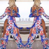 Wholesale Summer Sexy Maxi Dresses - 2017 Summer Flower Sundress Women V-neck Long Bodycon Dresses Beach Maxi Printing Dress Female Sexy Vestidos Robe Longue Femme Split