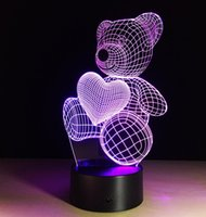Wholesale Christmas Lights Change Colors - Creative Vision 3D Cute Bear Night Light LED 7 Colors Change Acrylic Bedside Lamp