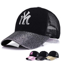 chapéus de lantejoulas pretas venda por atacado-Boné de beisebol preto para as mulheres Lantejoulas chapéu de esporte de verão para o basebol de beisebol do golfe confortável fresco ajustável cap mulheres Protetor solar