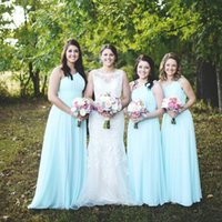 Wholesale cheap maternity dresses for wedding - 2017 Country Style Beach Light Sky Blue Cheap Bridesmaid Dresses One Shoulder Maternity Long For Pregnant Wedding Guest Party Gowns