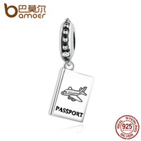uçak bilezikleri toptan satış-Toptan Pandora 925 Ayar Gümüş PASSPORT Uçak Charm Fit Bilezik Seyahat Boncuk Takı Yapımı