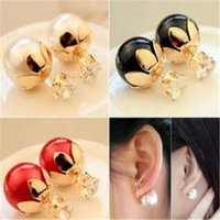 Wholesale fashion earrings crystal rhinestone resale online - Wedding Earings Lotus Flower DHL Red Black White Gray Pearl Earring Stud Crystal Flower Big Girls Ear Stud Brief Fashion Grace