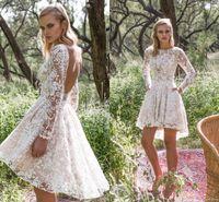 Wholesale Cheap Sexy Mini Wedding Dresses - 2016 Cheap Country Wedding Dress Sexy Sheer Lace Applique Jewel Neck Illusion Long Sleeve Camo A Line Open Back Short Beach Bridal Dresses