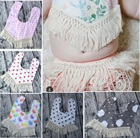 Wholesale Cloth Mouth - INS Baby cotton bibs Infant Kids Burp Cloths triangular binder girls boys Stripe Dot Mouth bib with tassel floral Bibs