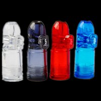 Wholesale Smoking Vaporizers Wholesale - New Arrival Plastic bullet snuff metal bullets snuff with 4 colors 49*19mm for snorter to smoking pipe hookah water pipes bongs vaporizers