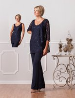 Wholesale Lace Silk Wedding Dress Sleeves - 2017 Mother of the Bride Dresses Pants Suits Wedding Guest Dress Navy Lace Silk Chiffon Scoop Mother Daughter Dresses Two Pieces Long Sleeve