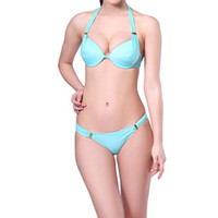 Wholesale Swimwear Steel Push Up Triangle - European Sexy Multi Rope 2psc Swimwear Push Up Steel Support Bikini With Triangle Hard Cup Bating Suit