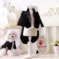 Wholesale Dog Gentleman - XS-XXL Gentleman Dog Apparel Cat Puppy Dog Wedding Suit Tuxedo Clothes Costume Spring Summer Pet Clothing Wear