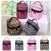 Wholesale Leopard Makeup - VS Pink Cosmetic makeup Storage Organizer Women Travel Cosmetic Bag Pink Red Leopard Storage Box Toiletry Organizer KKA2820