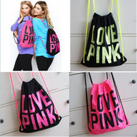 Wholesale Women Victoria Pink Backpack LOVE PINK School Bags Pink Letter Storage Bags Fashion Canvas VS Organizer Shopping Bags Drawstring Bag