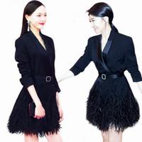 kadın ceketi yaka kemeri toptan satış-Toptan Satış - 2015 Yeni Moda Tasarımı Kadın Sonbahar Ceket Turn-aşağı Yaka Katı Kemer Ceket İnce Tam Uzun Kadın Yeni Geldi Y0225 Tops