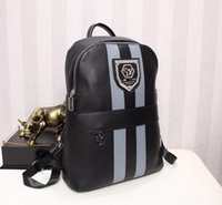Wholesale Super Trunks - Leather backpack black classic design young casual 2017 new 1: 1 big men backpack super star package